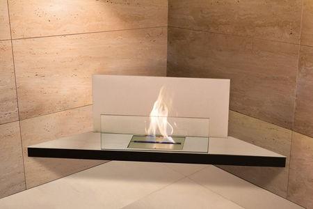 Corner Flame, edelstahl glas weiss Typ 542b