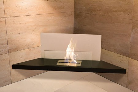 Corner Flame, edelstahl glas weiss Typ 542c