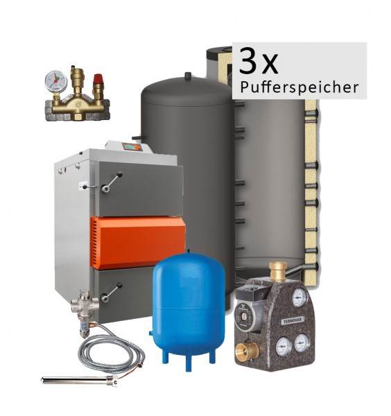 Holzvergaser HVS 25 Economic - Komplettset mit 3x1000 Ltr Puffer