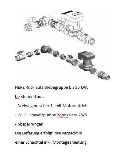 HERZ Rücklaufanhebung bis 35 kW Wilo Yonos Para 25/6,Motormischventil 1