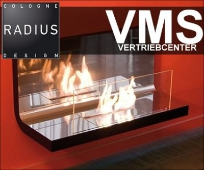 Radius WallFlame Typ 536e Hochglanz Edelstahl
