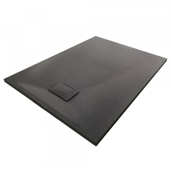 Duschboard rechteckig in Schwarz inkl. Ablaufgarnitur