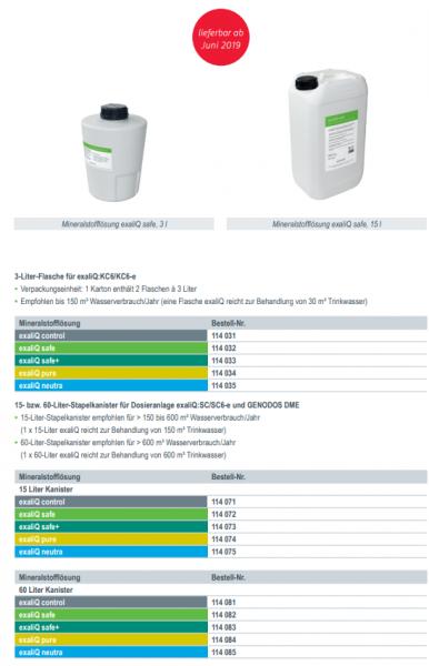 Dosierlösung Grünbeck exaliQ safe + 2 x 3 L Nachfolger von Exados grün und light