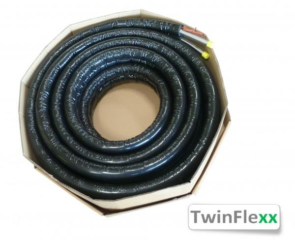 TwinFlexx Edelstahl-Solarrohr DN16 mit Fühlerleitung und Isolierung