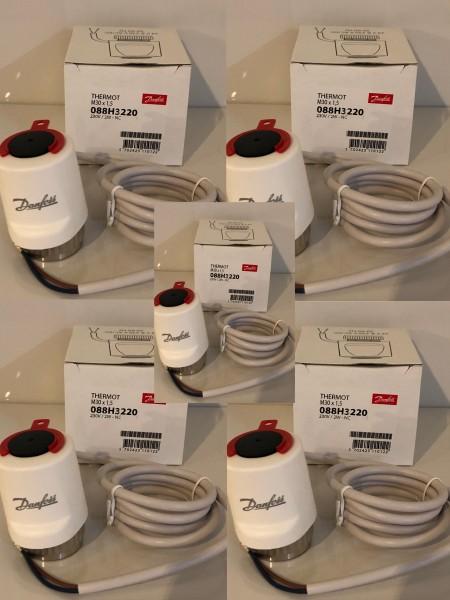5er SET Danfoss Stellantrieb Thermostat M30x1,5, 230V,Heimeier,Stellmotor,Fußbodenheizung - 088H3220