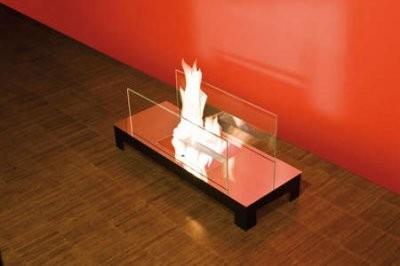 FLOOR FLAME Hochglanz - Edelstahl mit Glas Typ 537b