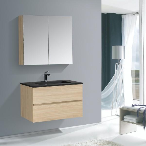 Badmöbel-Set 750 WT Schwarz Matt inkl. Spiegelschrank Farbe wählbar
