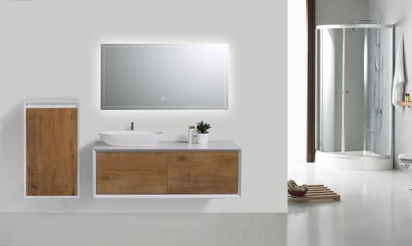 Badmöbel 1200 Weiß matt-Front Eiche-Optik mit LED Spiegel