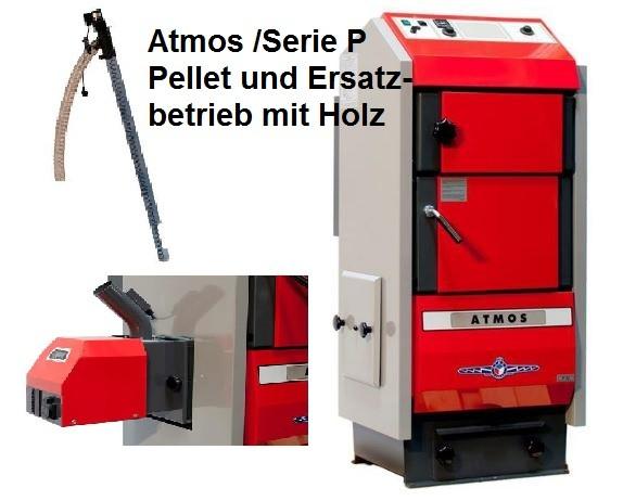 Atmos Pelletkessel P20 Serie P mit Brenner und Förderschnecke