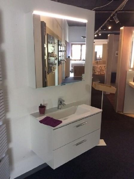 Badmöbel-Set Waschtisch, Waschtischunterschrank und Spiegelschrank Farbe weiß