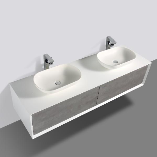 Badmöbel Anoif 1800 weiß matt - Front in Beton-Optik - Spiegel und Aufsatzwaschbecken optional