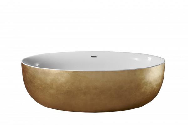 Freistehende Badewanne Sanvoterra GOLD - 186 x 88 Blattgold-Oberfläche