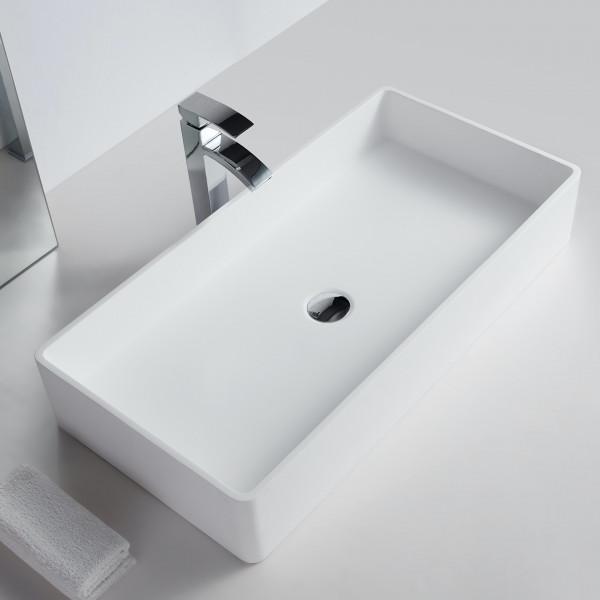Aufsatzwaschbecken aus Mineralguss Solid Stone - 80 x 40 x 14,5 cm - Weiß Matt SANVO