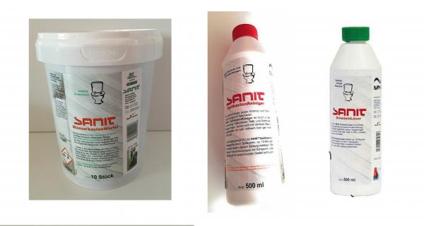 Sanit Bad & Küchen Set 1 bestehend aus: Spülkastenreiniger, Urinsteinlöser, Wasserkastenwürfel