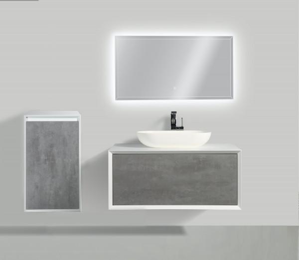 Badmöbel Anoif 900 - Weiß Matt - Front Beton - Eiche-Optik - Seitenschrank, Waschbecken und Spiegel