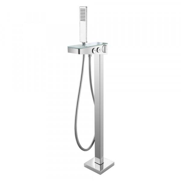 Freistehende Wannenarmatur mit Glas- Wasserfall-Wanneneinlauf-inkl. Handbrause und Duschschlauch