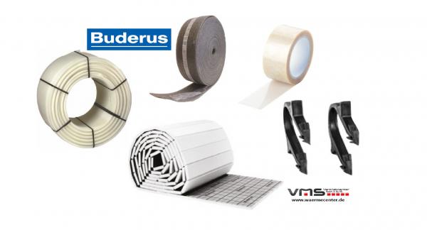 Buderus Fußbodenheizung 30m2 KOMPLETTSET / Heizung Tackerplatte 30-3 mm PE RT ROHR 17x2