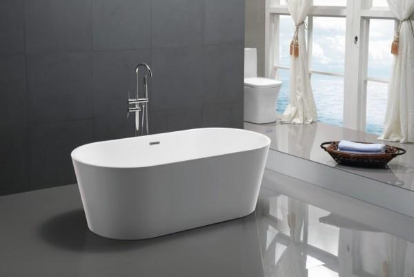 Freistehende Badewanne aus Acryl weiß 172 x 82cm