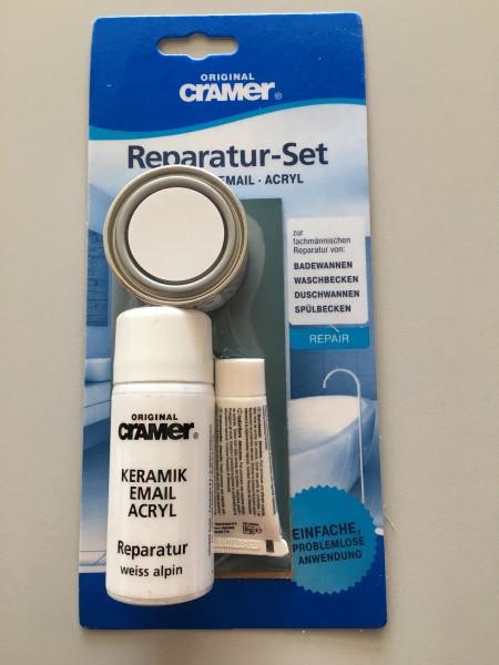 Cramer Email Acryl Reparatur Set für Badewannen Wannen Waschtische weiß 16080